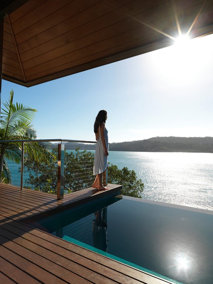 Qualia Resort Wooden Deck Terrace Facing The Sea Near The Relaxing Small Pool