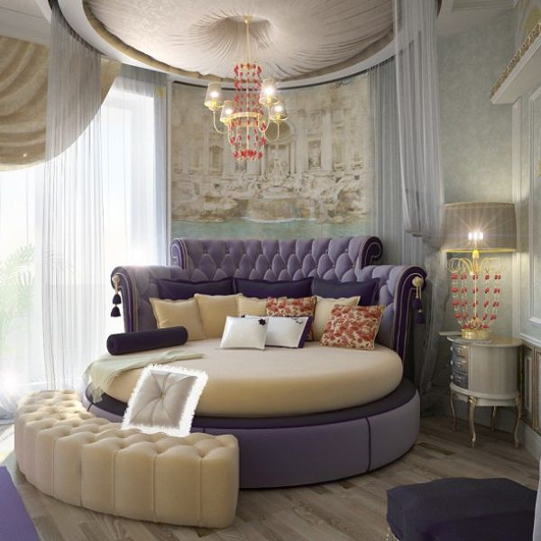 Round Bed With Purple Hues Brings In A Regal Flavor And Sexy Bed Design