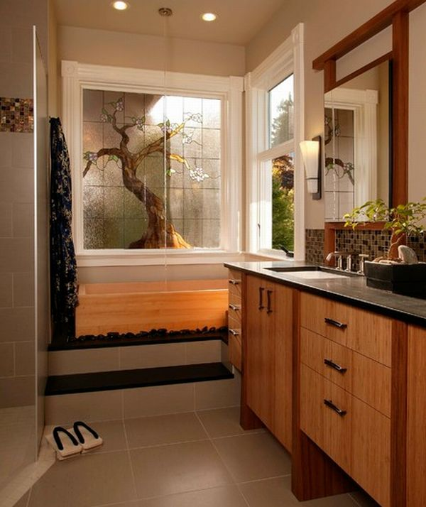 Stunning Asian Themed Master Bath With Nuetral Shades And Lovely Bamboo Cabinetry Also Bonsaii Plants And Glass Mural Window