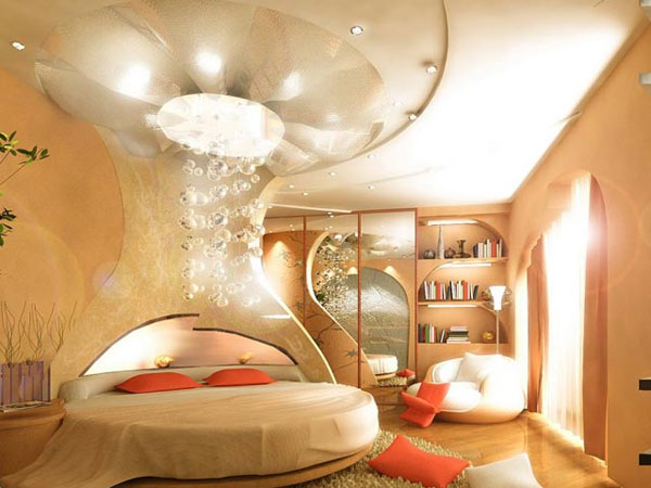 Stunning Bedroom That Uses A Circle Bed And A Soothing Shade Fairytale Bedroom Design