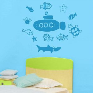 Submarine And Sea Creature Decals Marine Theme Kid's Wall Decor