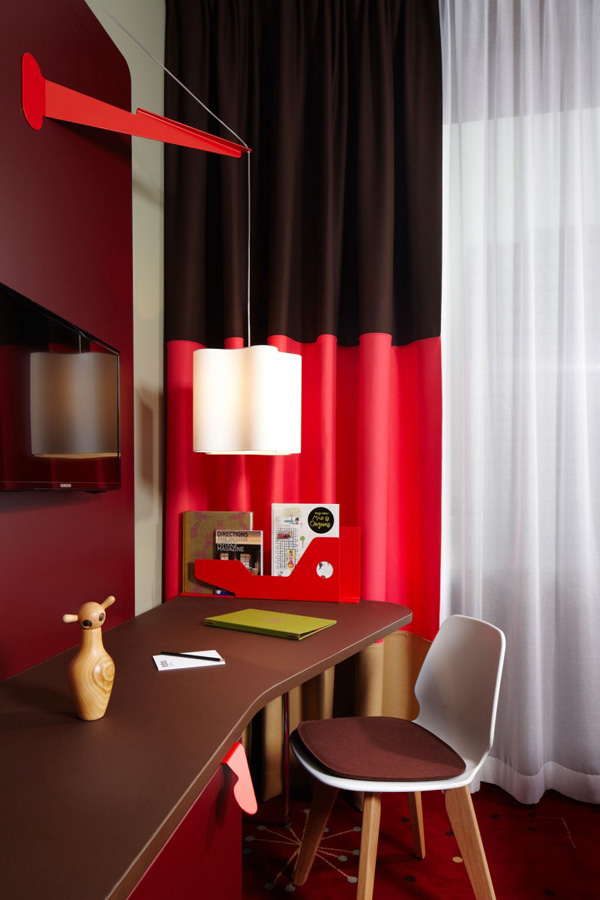 Sweet Details Of Work Space With Red And Black Curtain