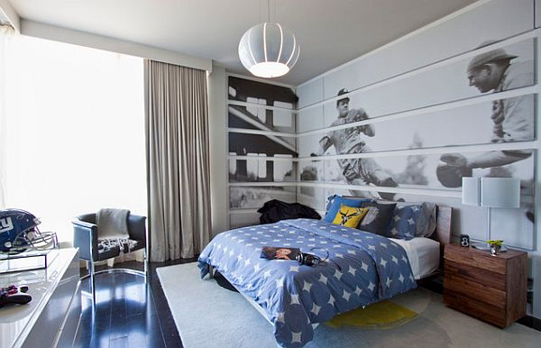 Teenage Boy Bedroom For Sports Enthusiast With Baseball Wall Mural Blue Bedding And Blue Furniture