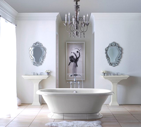 Traditional Bathroom With Formal Details With Twin Sinks And Mirrors Space