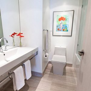 Vibrant Orange In A Minimalist Bathroom Use Contrast Accent For Clean Look Accent