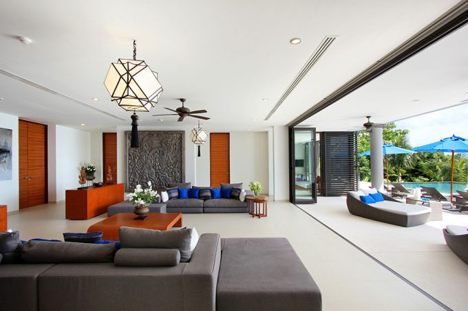 Villa Padma Awesome Lounge Space With Open Space Design And Folding Glass Door Design