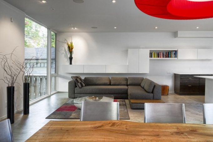 White And Wood And Red Modern Interior Material Beautiful Elegant Sosial Area Arrangement