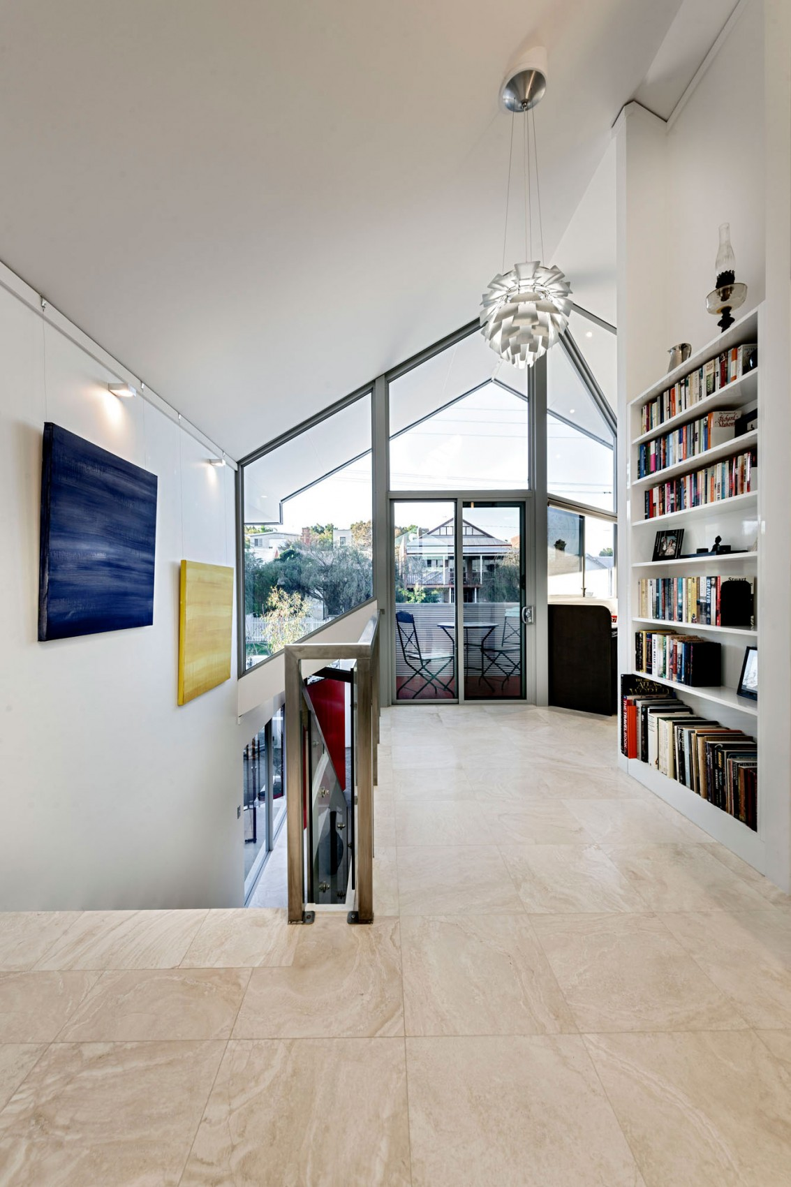 Amazing Upper Floor With Perfect Space Arrangement And Minimalist Furnishing Also Lovely Bookcase