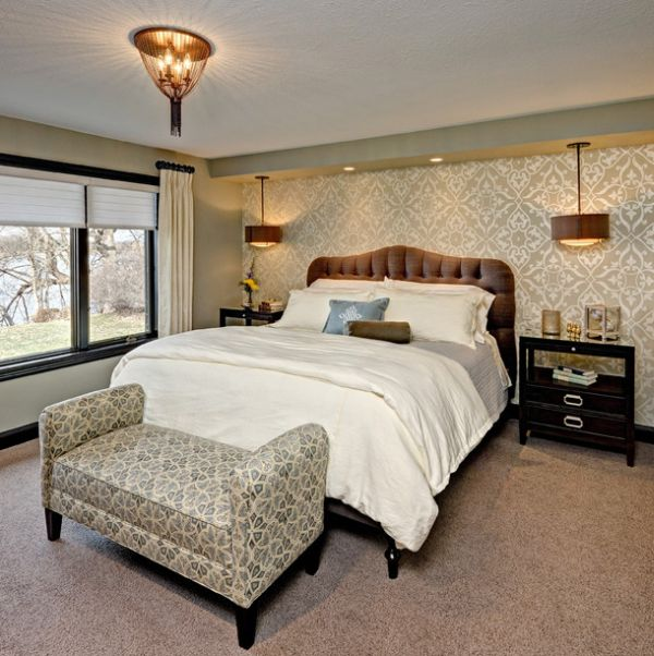 Artistic Master Bedroom With A King Sized Bed And A Bench With Fun Pattern By Che Bella Interiors