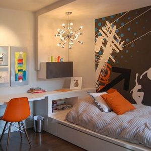 Artistic Teen Boy Chambre Room With Skateboard Walls Decor With Custom Desk Design