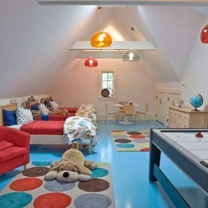 Attic For Kid's Bedroom Designing With Blue And Red Kids Rooms Playful Room Design