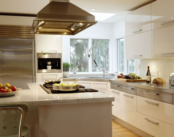 Awesome Ergonomic Contemporary Kitchen In White With A Stailess Steel Corner Sink