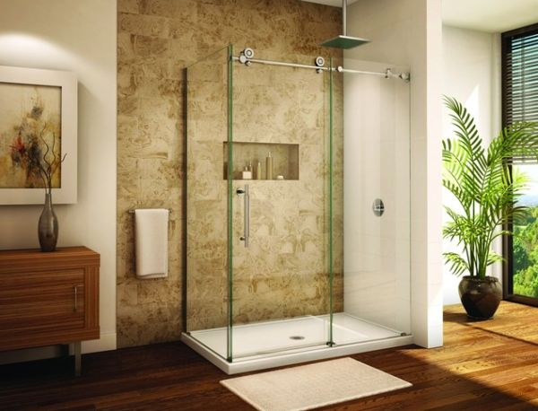 Awesome Frameless Sliding Glass Door Shower Enclosure For A Modern Bathroom Luxury Bathroom Decor Ideas
