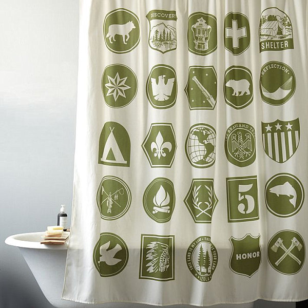 Awesome Scout Themed Shower Curtain For Boys Bathroom Decor