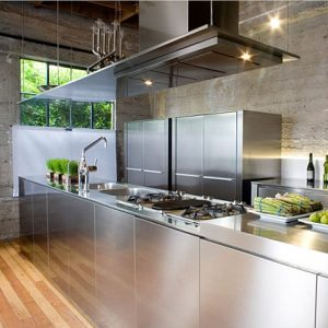 Awesome Stainless Steel Kitchen Island Design