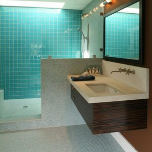 Awesome Blue Bathroom Enhanced With Floating Resin Sink Decor