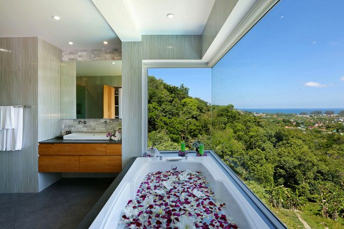 Bathtub With Glass Window Facing Bang Tao Forest Scenery
