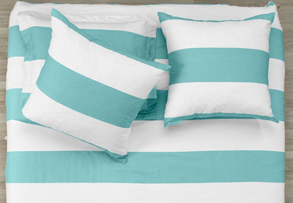 Beautiful Aqua And White Striped Bedding Modern Bedding Decor