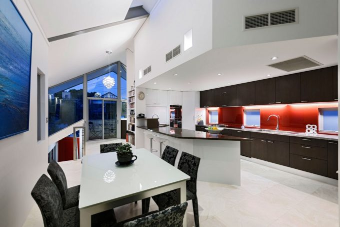 Beautiful Kitchen Design With Red Nuance Perfect Room Arrangement