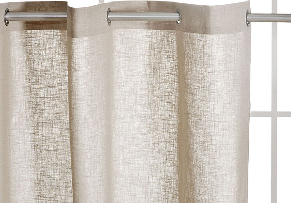 Beautiful Linen Shower Curtain For White Bathroom Design