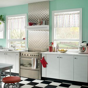 Beautiful Metal Backsplash And Canisters Also Island In A Retro Kitchen