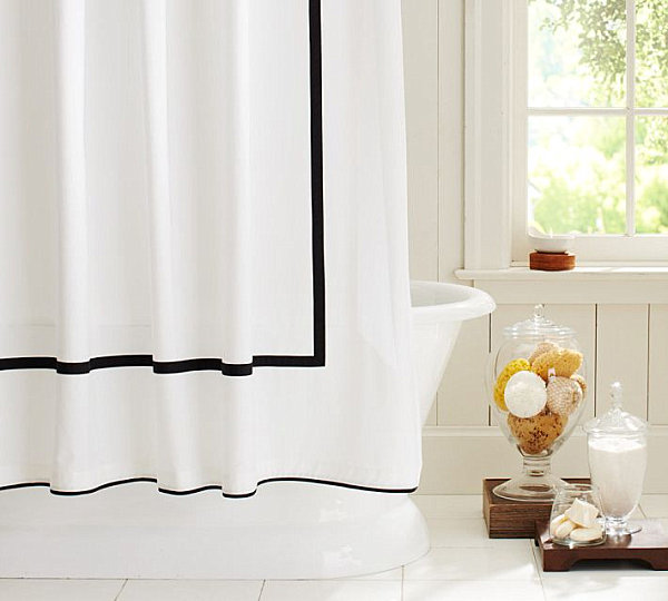 Beautiful Shower Curtain With Contrasting Bands Modern Curtains With Border Design