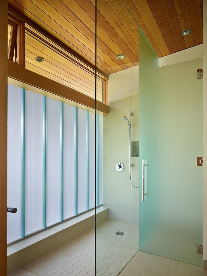 Beautiful Bathroom Design With Frosted Glass And Wooden Materials