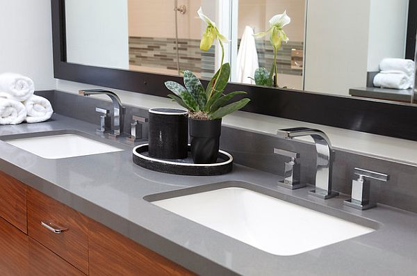 Beautiful Bathroom Furniture With Built In Rectangular Sink Design