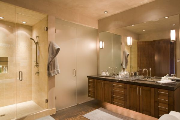 Beautiful Bathroom With Elaborate Vanity Design With Lantern Light Design