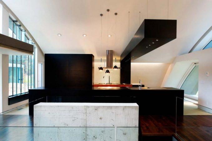 Beautiful Black Kitchen Design With Black Kitchen Island And Countertop Modern Interior House Design
