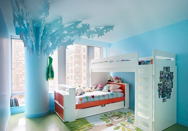 Beautiful Blue Kid's Bedroom Decorating With Bohemian Apartment Girls Bedroom And White Bunk Bed