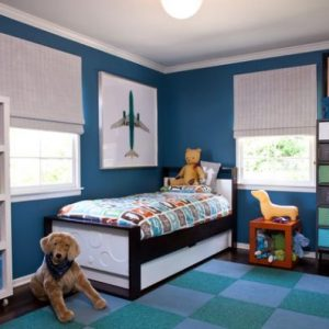 Beautiful Blue Kids Bedroom With Bright Colors And A Compact Trundle Bed