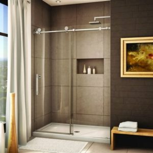 Beautiful Chocolate And Brown Bathroom With Little Niche For The Shower Enclosure Saves Up On Space