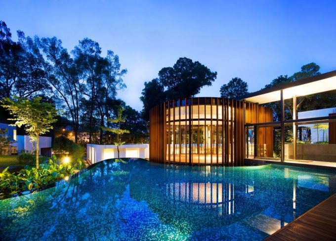 Beautiful Curvilinear Pavilion And Irregular Pool Shape
