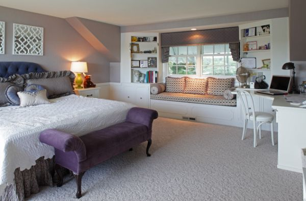 Beautiful Feminine Bedroom Decor With Purple Sofa Styled Bench In The Kids Bedroom Adds A Regal Touch To The Light Grey Interiors By Jka Architect