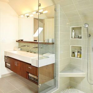 Beautiful Floating Resin Sink Cabinet Set In A Contemporary Bathroom With Bright Lighting