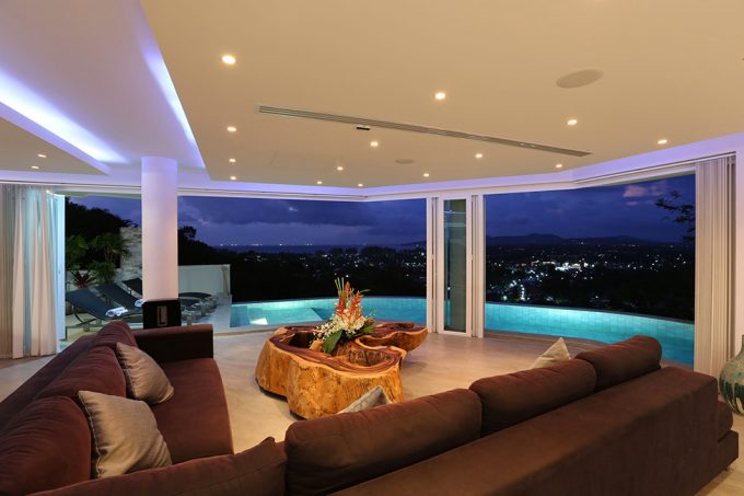 Beautiful Lounge Room Night View With Stunning Bang Tao View