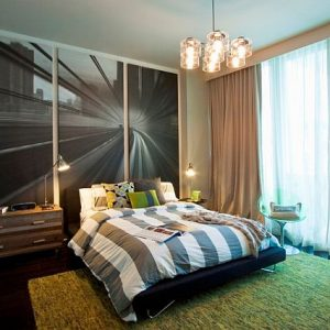 Beautiful Modern Teenage Boy Room Design With Skirt Bedding And Velocity Wall Mural Theme