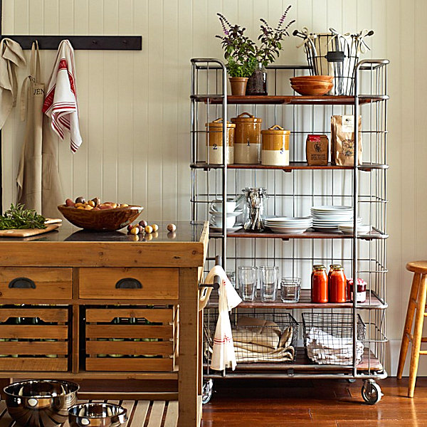 Beautiful Steel Rolling Rack For Kitchen Decor Ideas