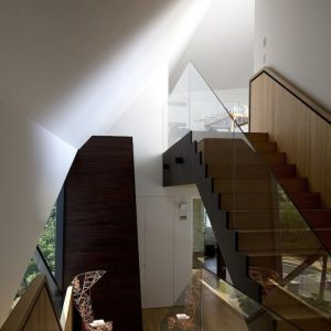 Beautiful Wooden Stair With Frameless Glass Banister