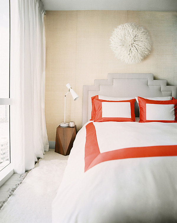 Bedroom For Singles Red Pops In A Luxe Modern Bedroom