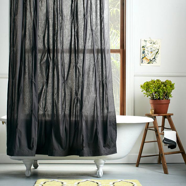 Black Pleated Shower Curtain Contrast Color Curtain Design