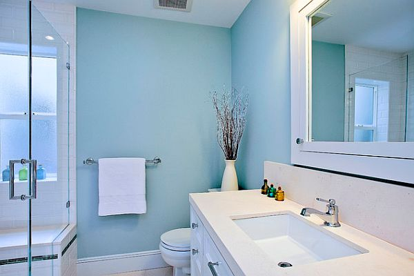 Bright Blue And White Hung Sink Bathroom Decor