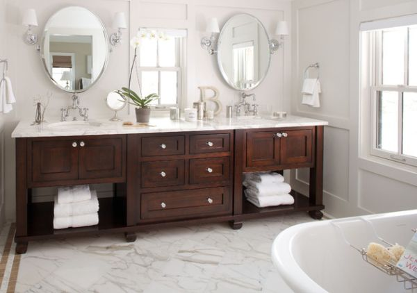 Bright Vanity Lighting With Exquisite Bathroom Vanity In Dark Tones Complements The Pristine White Backdrop