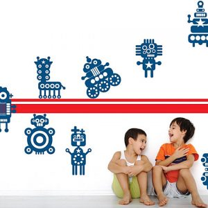 Bright Wall Bith Robot Wall Decals For Kids Stylish Kid's Room Design