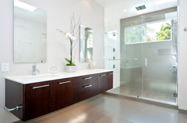 Bright White Bathroom Vanity Lighting With Custom Crafted Vanity In Dark Tones Balances Visually The Soft And Glowing Lighting Around