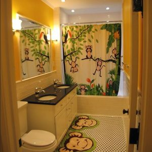 Cheerful Kids Bathroom With Curtain And Monkey Bathroom Rugs Also Vivid Jungle Theme Surely Lights Up This Bathroom Design With Glee