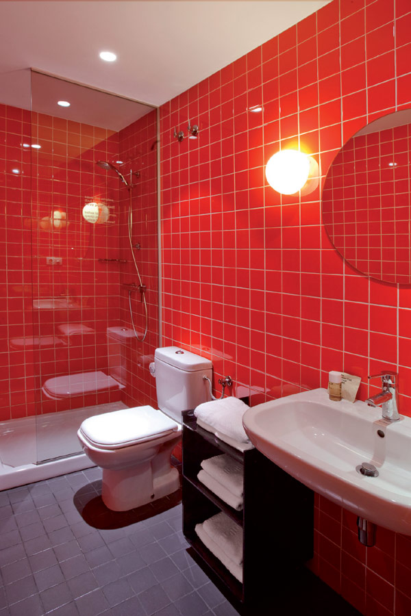 Chic And Basic Hotel Artistic Bathroom With Red Wall Design