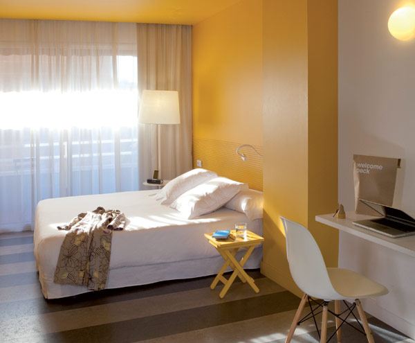 Chic And Basic Hotel Colorful Bedroom Decor With Fresh Yellow Accent