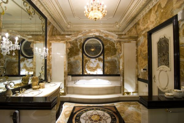 Classic Traditional Bathroom Design With Beautiful Marble Decor